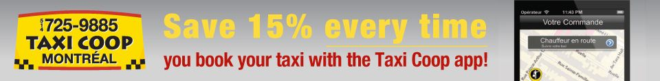 Save 15% every time you book your taxi with the Taxi Coop app!